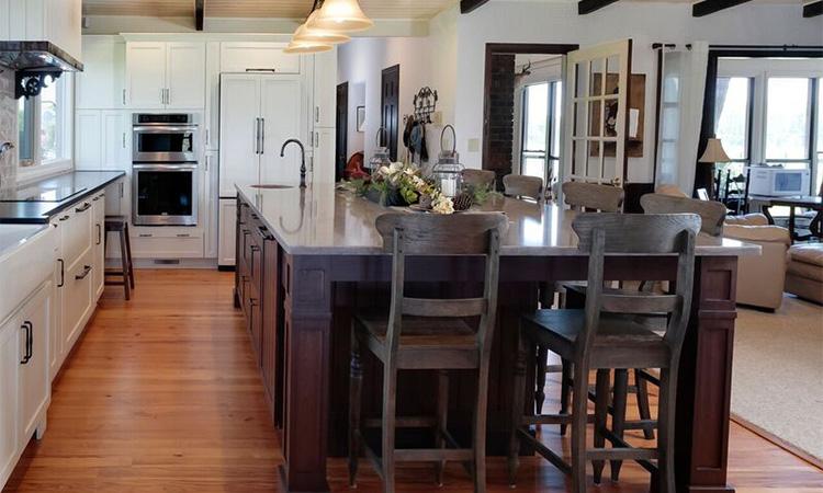 dark walnut island farmhouse kitchen remodel
